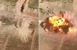 无人机拍下IS坦克被美军炸弹炸飞瞬间