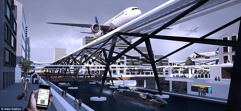 未來機場概念設計:飛機從城市街道上方起飛
