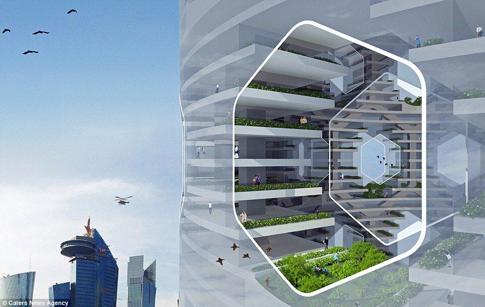 """建筑师设计概念""""垂直城市"""""""