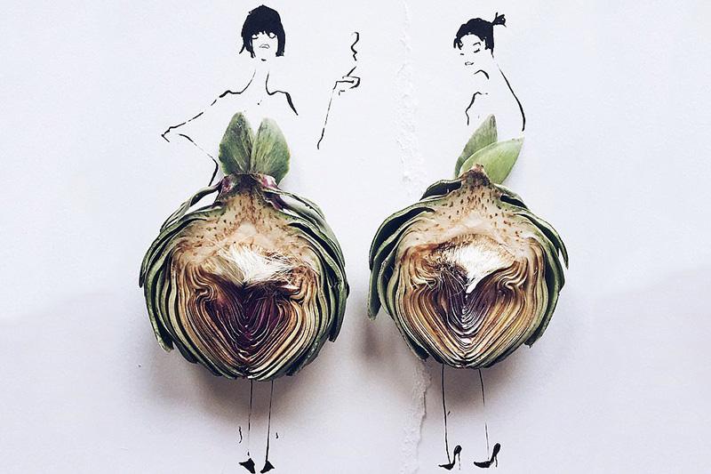 被玩坏了的食物! 创意时装画:将食物穿身上