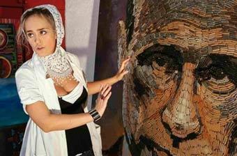 女艺术家5千枚弹壳拼普京肖像
