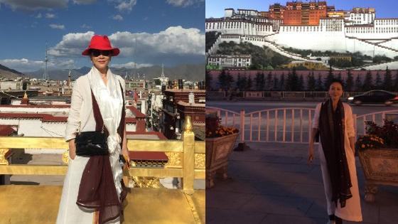 刘嘉玲登上世界屋脊 游西藏长裙妩媚迷人
