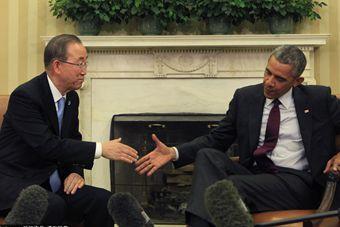 奥巴马于白宫会见联合国秘书长潘基文