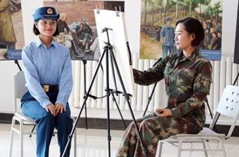 女兵方队里有才女画功超棒