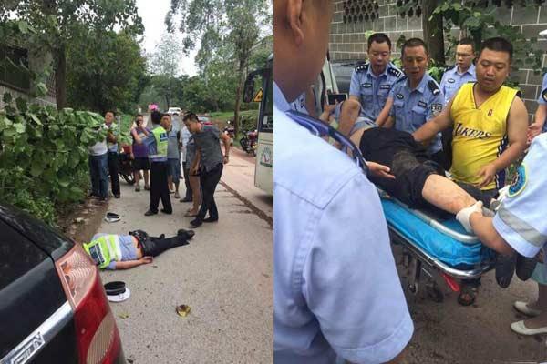 四川一司机暴力抗法 撞飞两名交警