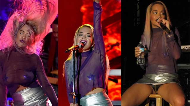 英国女歌手瑞塔·奥拉洛杉矶开唱 穿透视衣博眼球