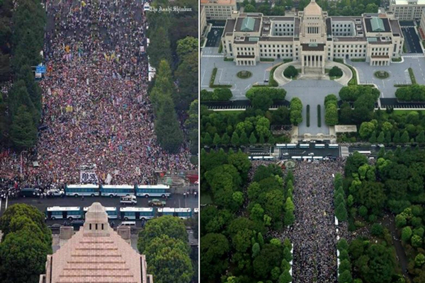 日本10万人包围国会抗议安保法案