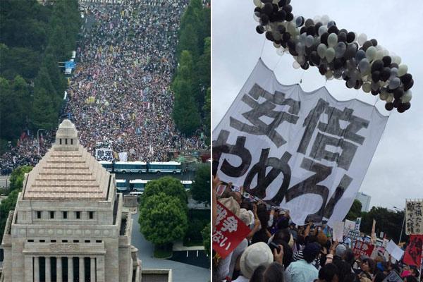日10万民众包围首相官邸 要求安倍下台