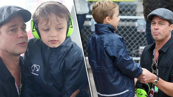皮特现身看赛车比赛 跪地与儿子交流变贴心奶爸