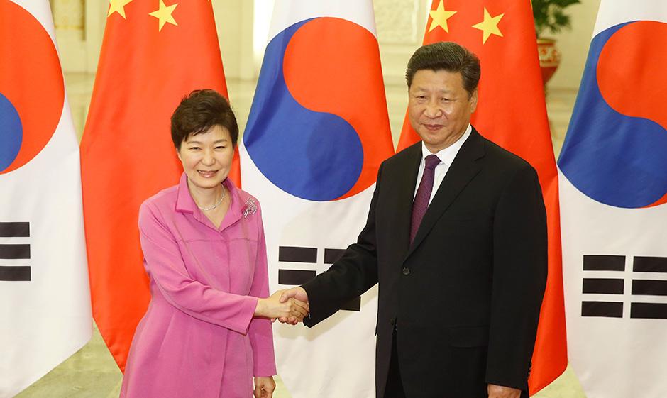 9月2日,中国国家主席习近平在北京人民大会堂会见韩国总统朴槿惠。