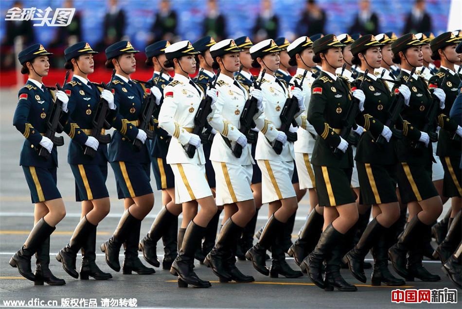 93阅兵三军仪仗队女兵清晨集结 ...