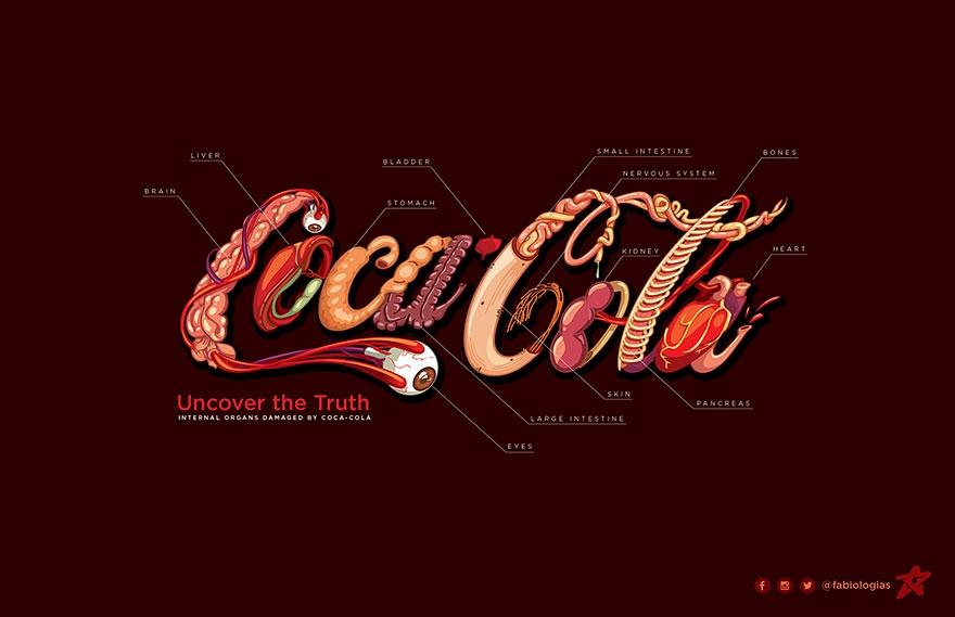 """""""暗黑""""版可口可乐logo 设计师:可乐是毒药图片"""