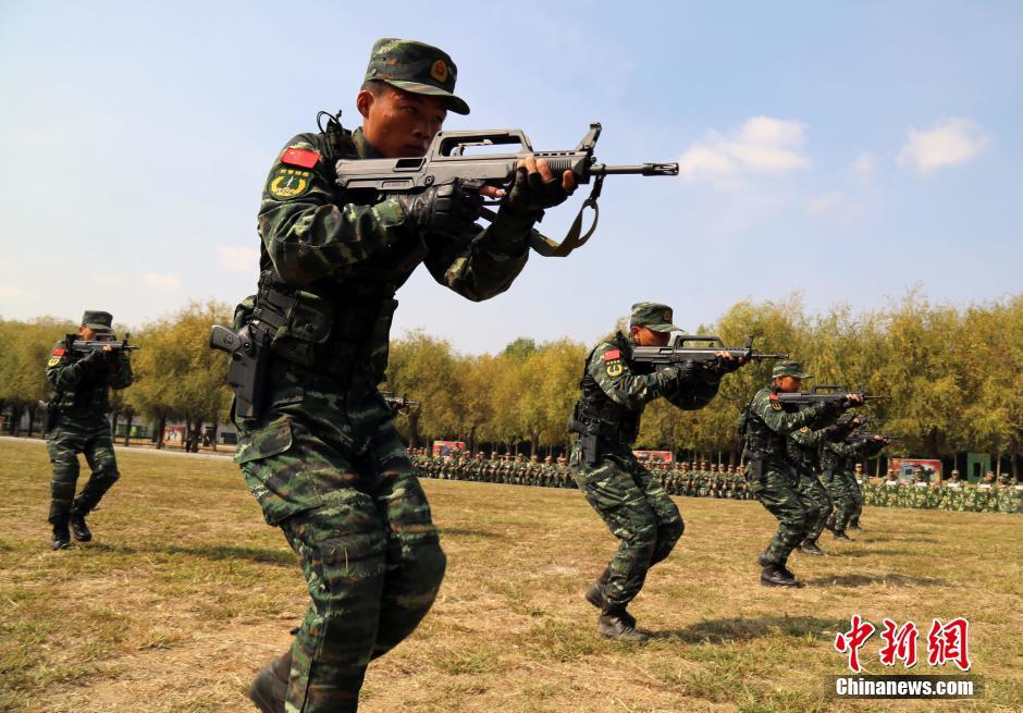 武警老兵向新兵小鲜肉传授武技图片