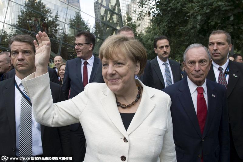 德总理默克尔造访9.11纪念博物馆
