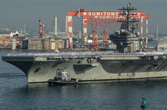 美核航母抵日本威慑中朝 排日文问候