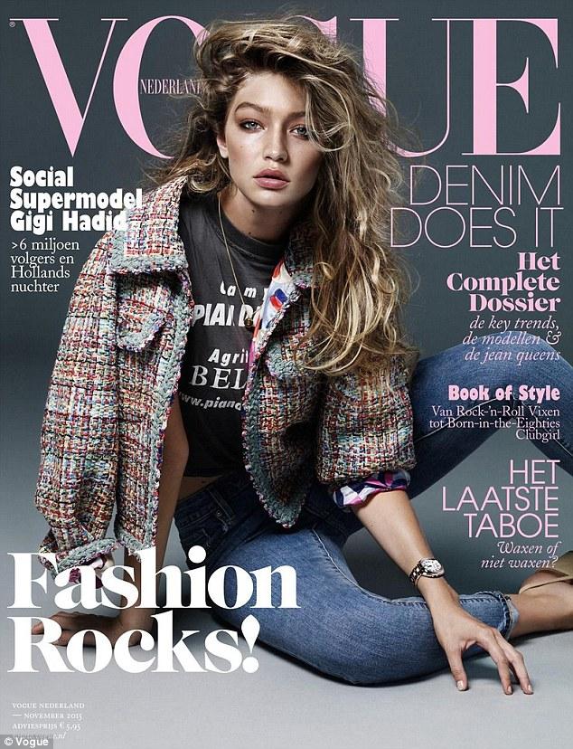 嫩模吉吉•哈迪德亮相《Vogue》杂志荷兰版封面
