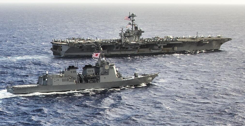 美日印三国联演 看美国航母小跟班