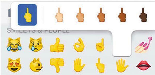 苹果公司上次更新操作系统ios 9时,未纳入代表中指的表情(emoji),令不图片