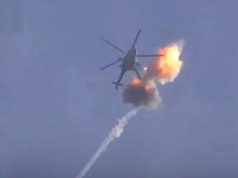 曝俄制直升机被导弹击伤 奇迹般安全返场