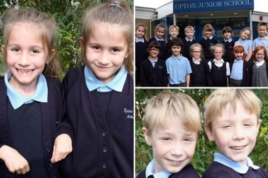 英国7对双胞胎进同一小学读书 老师看花眼(图)