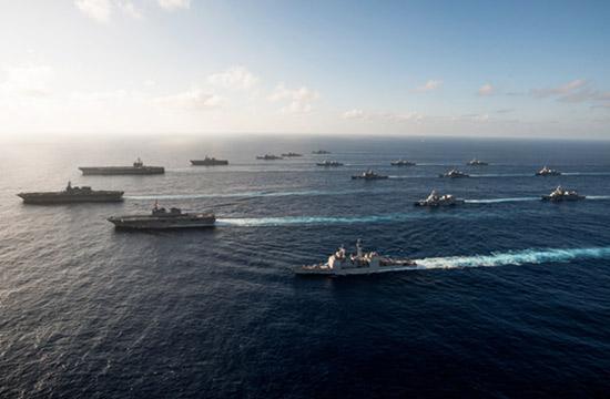美日出动19艘主力舰大秀武力