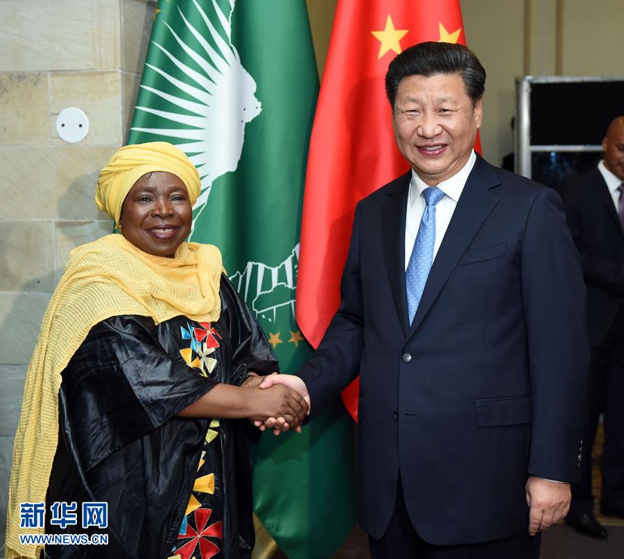 12月3日,国家主席习近平在比勒陀利亚会见非洲联盟委员会主席祖马。 新华社记者张铎摄