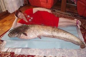 俄相亲网站照片光怪陆离 女子躺大鱼旁吸睛