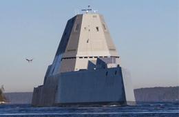画风科幻:DDG1000驱逐舰海试画面