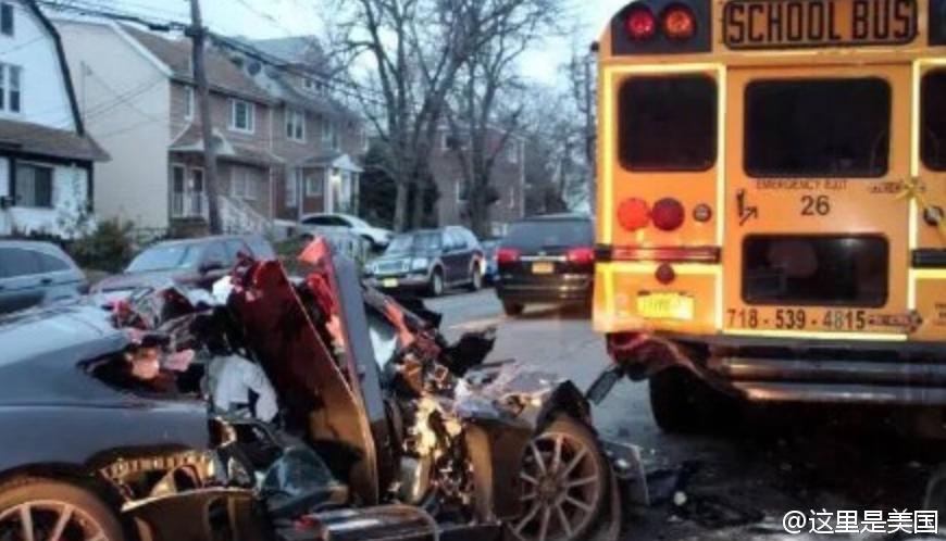 纽约一亚裔酒驾豪车撞击校车1死1伤