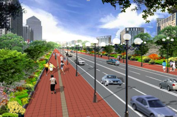 道路及人行道效果图
