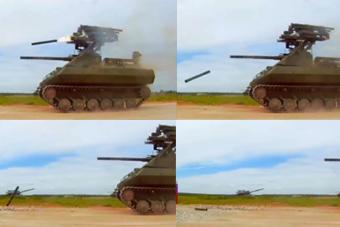 俄军无人战车测试导弹发射后掉在跟前