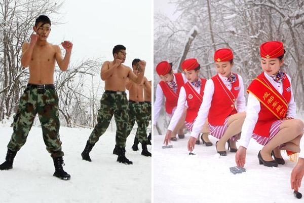 """成都准空哥和空姐雪地训练""""美丽冻人"""""""