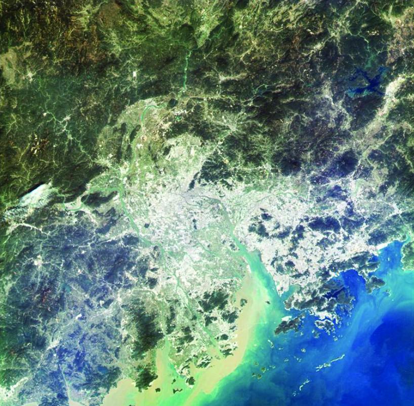 高分四号拍摄的珠江三角洲影像.