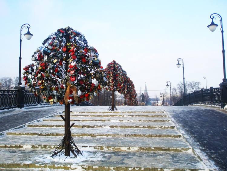 """莫斯科爱情桥""""种""""着爱情树"""