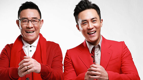 杜淳杜志国父子喜气洋洋 穿红衣提前贺岁
