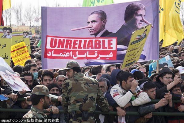 """伊朗纪念""""伊斯兰革命""""37周年 奥巴马变恶搞对象"""