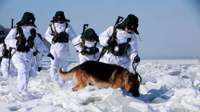 中俄边境巡逻兵极寒地区巡逻