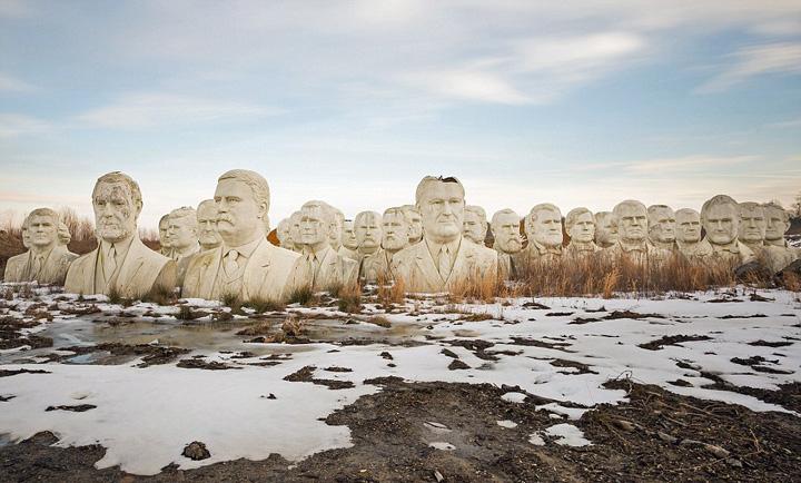 布什(小布什)等43位美国总统的半身雕像