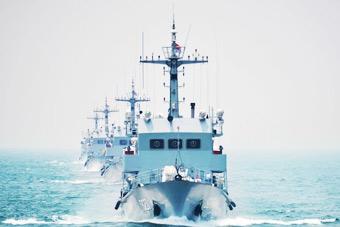 南海舰队扫雷舰排长龙出发训练