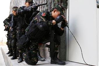 解放军用软管内窥镜从门缝侦察