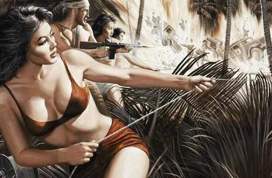充满荷尔蒙浪漫的二战题材插画