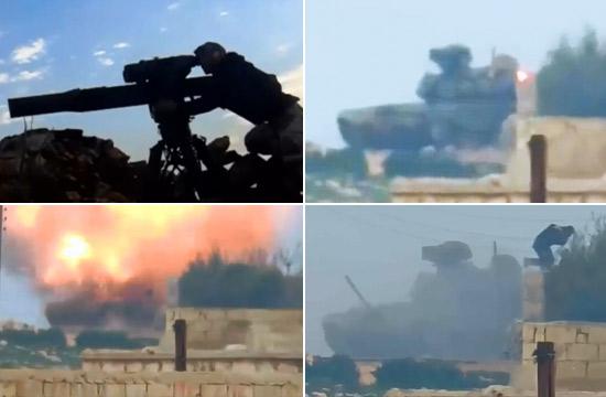俄制T-90坦克被陶氏导弹击中