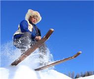 新疆哈萨克族古老毛皮滑雪队日常训练(图)