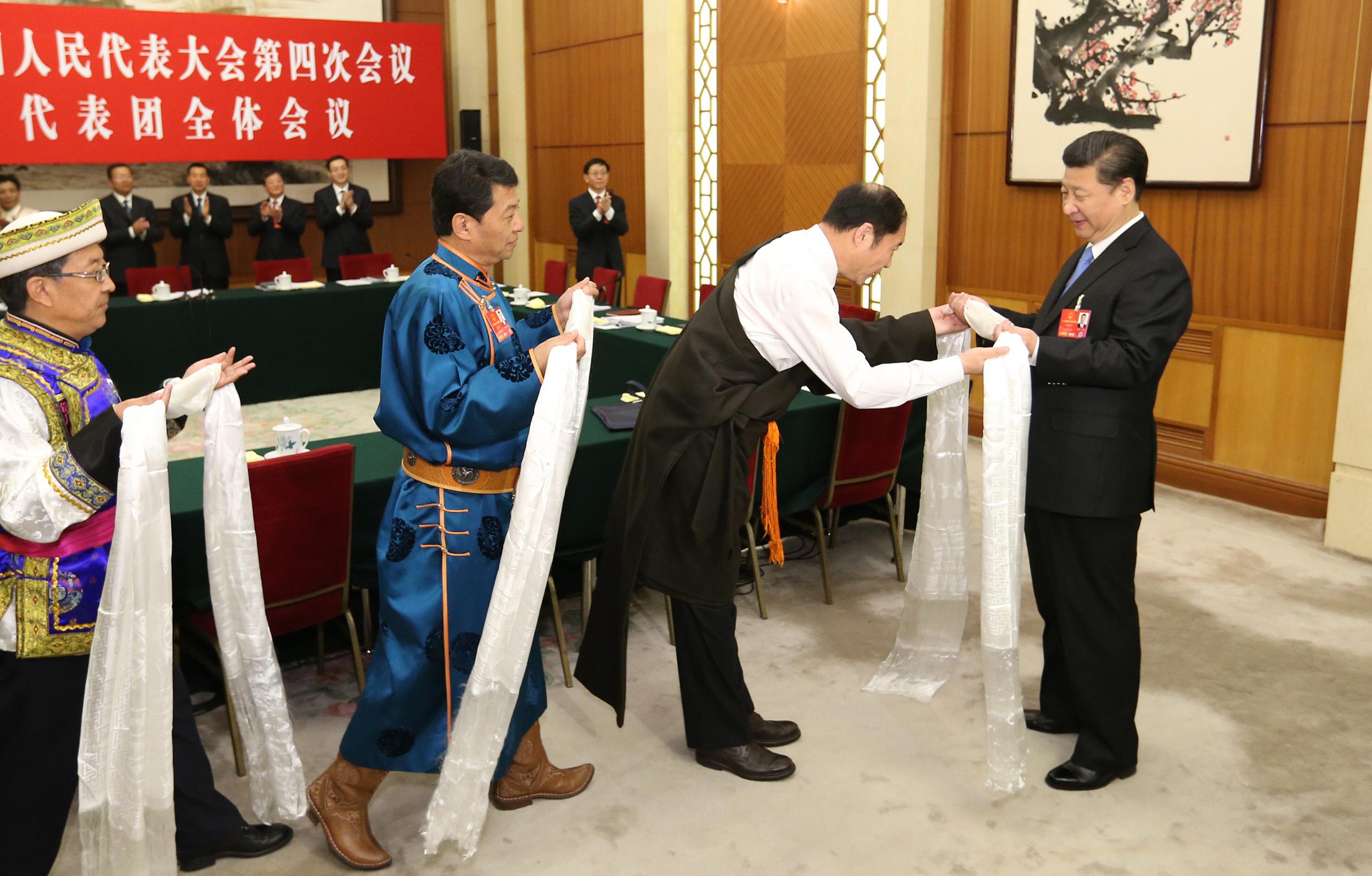 青海团代表向习近平总书记献哈达 共话民族大团结