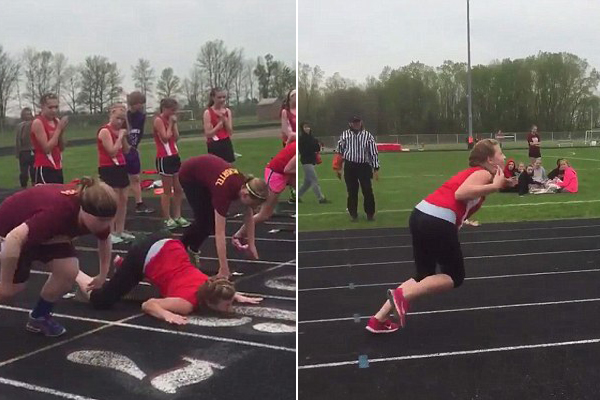 美高中女孩田径运动会上连续摔倒让人捧腹