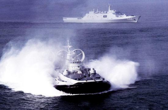 野牛气垫船与071坞登协同作战