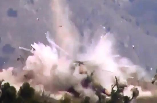阿富汗米17降落在炸弹上被炸飞