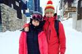胡杏儿和爱侣滑雪