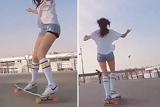 """韩国""""长板女神""""秀滑板技巧"""