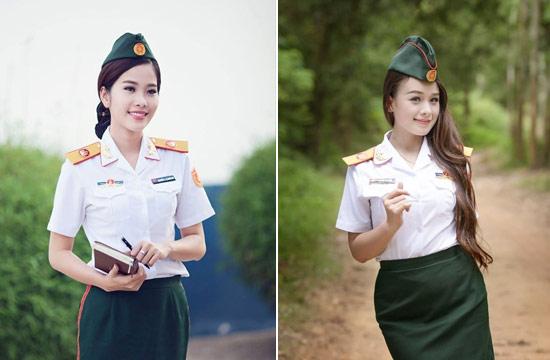 越南女兵穿新式军服大拍靓照
